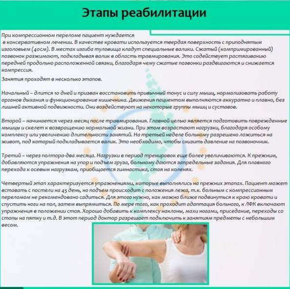 ЛФК при компрессионном переломе позвоночника: лечебная гимнастика, упражнения для спины по методике Древинг-Гориневской, зарядка
